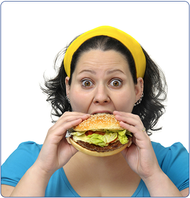 vrouw-eet-hamburger